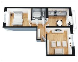 Матовый натяжной потолок в двухкомнатной квартире