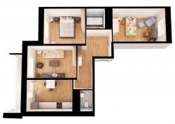 Матовый натяжной потолок в трехкомнатной квартире