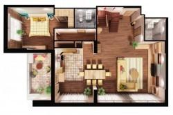 Матовый натяжной потолок в четырехкомнатной квартире