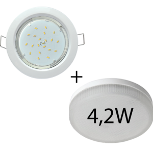Светильник встраиваемый Ecola GX53-H4 + светодиодная лампа 4,2W