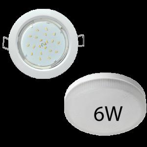 Светильник встраиваемый Ecola GX53-H4 + светодиодная лампа 6W
